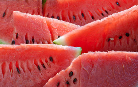 fresh watermelon slices close up photo