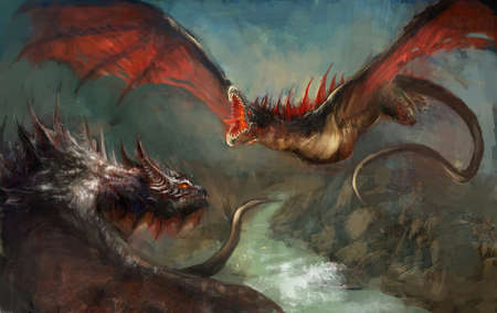 flying dragon: two dragons duel on sky Stock Photo