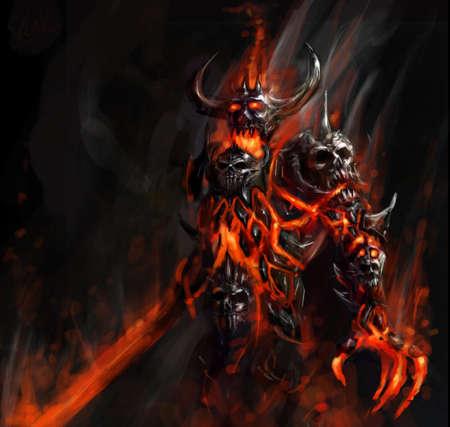 demon: apokaliptyczny płonące niosącym zagładę z piekła