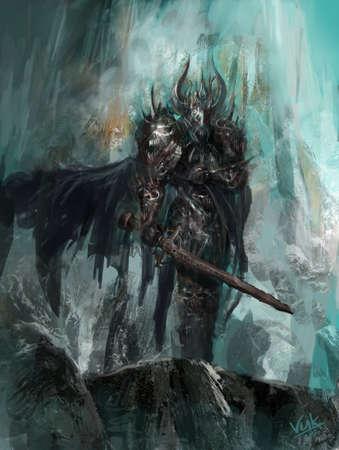 demonio: caballero de la muerte de hielo y el invierno Foto de archivo