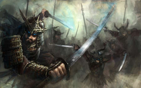 samourai: samurai oscillant katanas inb pleine charge