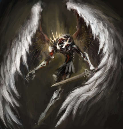 angel of death: biomechanical angel bringing death to enemies