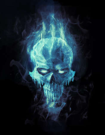 doomed: doomed ice skull in cold flame