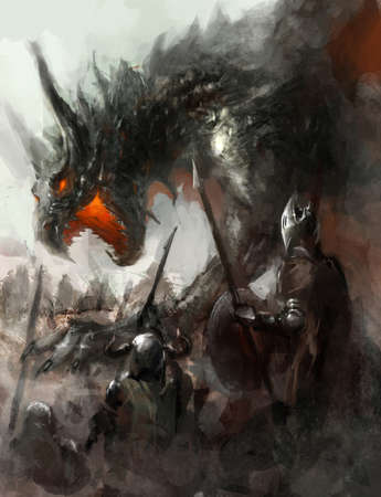 creature of fantasy: knights hunting dragon on field