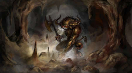 angry minotaur with axe in cave photo