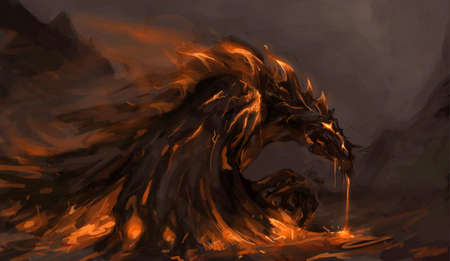inferno: molten rock dragon rising from stones
