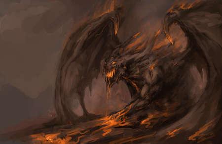 satanas: fundida en el ataque del dragón roch