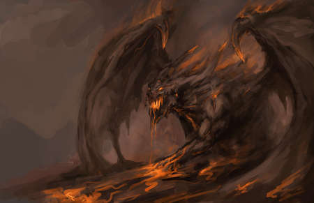wrath: molten roch dragon in attack