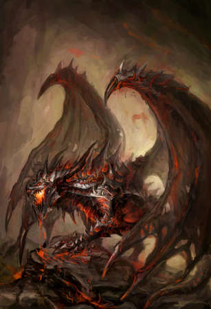 demonic: molten armored knight dragon on rock Stock Photo