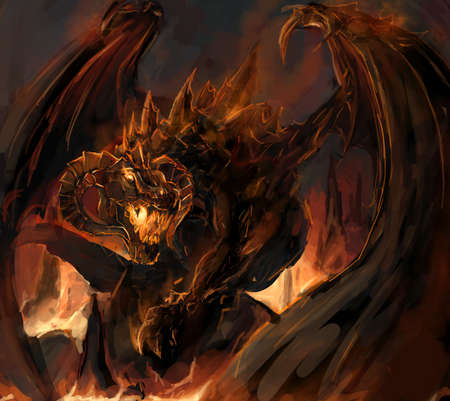 flying dragon: molten dragon rage at vulacno Stock Photo