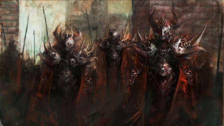 demonio: general al frente de su ejército en la guerra