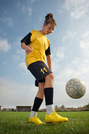women playing soccer: soccer girl