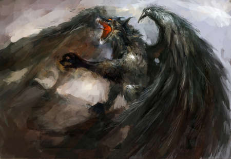 winged dragon: federed winged dragon attack  illustration Stock Photo
