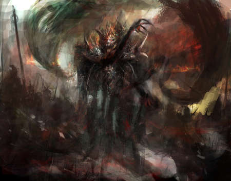 demonic shadow on a battlefield
