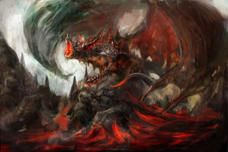 wrath: molten armored knight dragon on rock Stock Photo