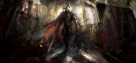 medieval knight: knight in temple marshin toward us