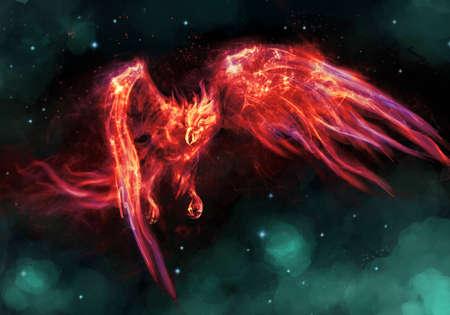 burning: egyption phoenix the  burning bird