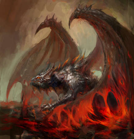 wrath: dragon rising from the magma  Stock Photo