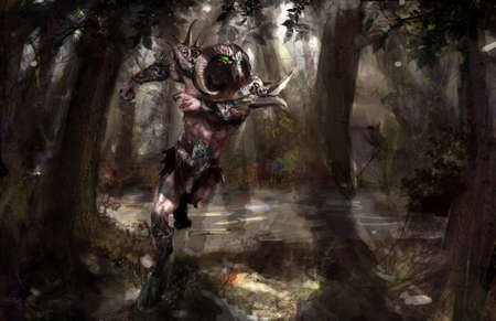 monstrous: armored minotaur running in the forest Stock Photo