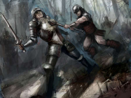 two woriors fighting to the death