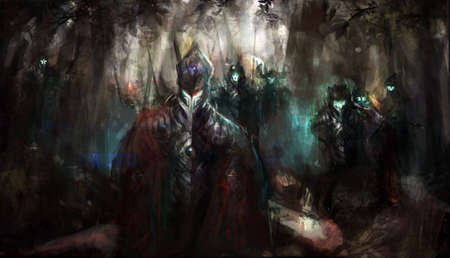 cybernetics army in the forest photo