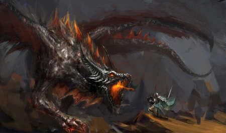 Escena de fantasía caballero luchando dragón Foto de archivo - 13913676