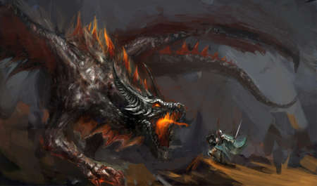 fantasy art: fantasy scene knight fighting dragon