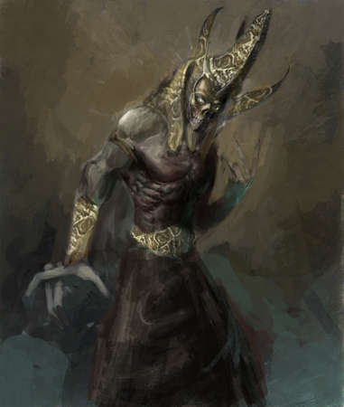 ancient creature: illustration undead egyptian pharao rising
