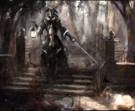 mosquetero: general de los piratas caminando por el bosque