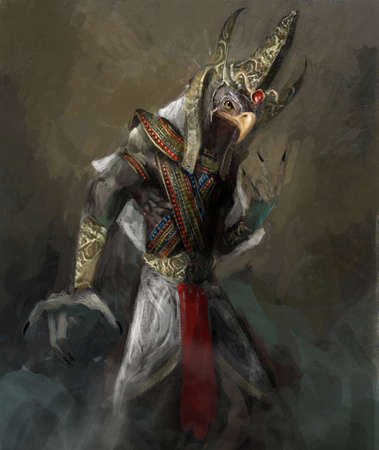 half adelaar half mens Amon Ra Stockfoto