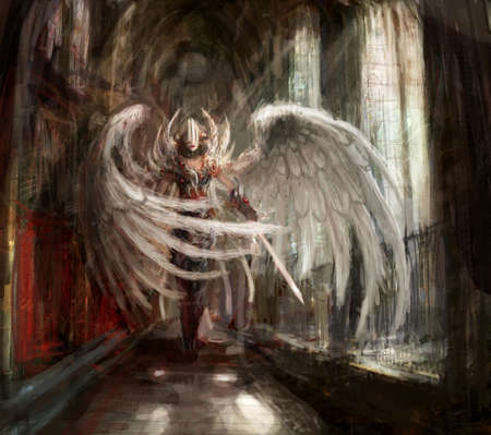 fantasy warrior: cyborg angel girl in catedral Stock Photo