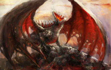 creature of fantasy: Dragon resting on the mountain top Stock Photo