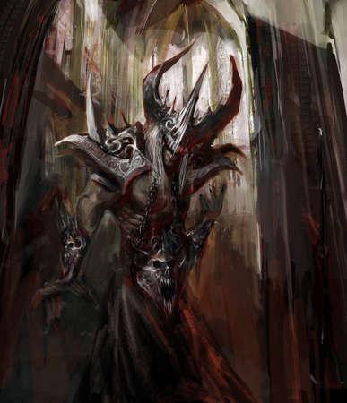 demon: armored evil creature in catedral