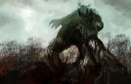 wrath: tree  man the wrath of the nature Stock Photo