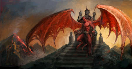 Devil on throne of the hell Stock Photo