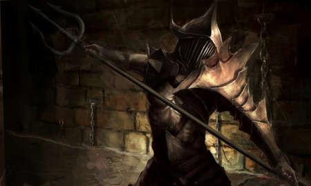 fantasy warrior: illustration of ancient gladiator hero