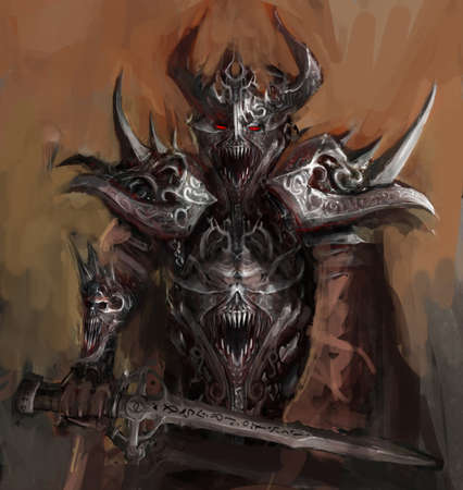 demonio: general, al frente de su ejército en la guerra