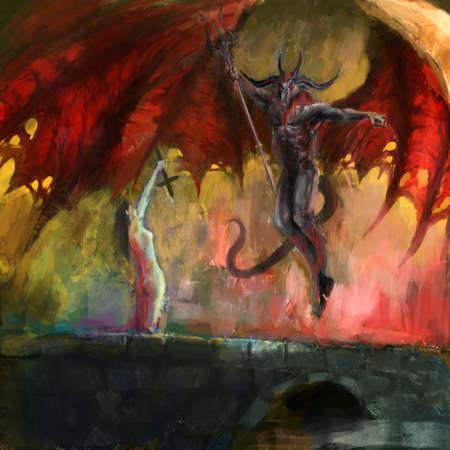 satanas: chica con la defensa de la cruz del diablo