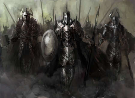 General, der seine Armee in den Krieg