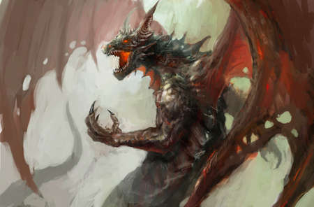 colourful fire: illustration of mythology creature, dragon