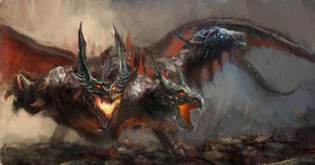 colourful fire: illustration of three headed dragon