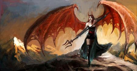 冷たい地獄の悪魔の女性 写真素材