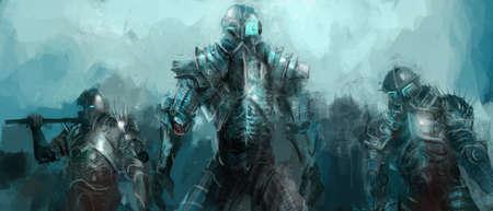 guerrero: cibern�tica ej�rcito, los soldados de arte conceptual