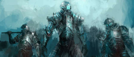 fantasy fiction: cybernetics army, concept art soldiers Stock Photo