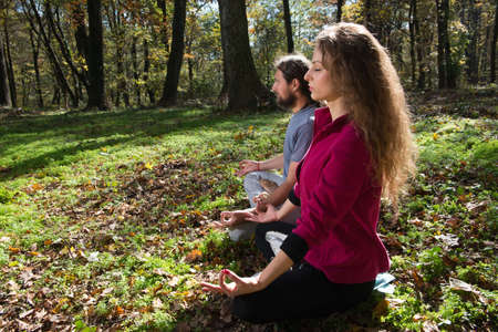 position d amour: fille et la méditation de yoga homme fait dans une forêt