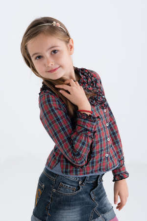 cute girl in denim skirt