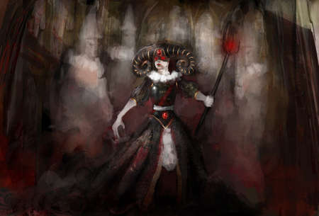 witch warrior with ghost in cathedral  photo