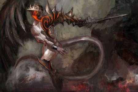 satanas: Yin-yang, el ángel y el diablo mismo tiempo Foto de archivo