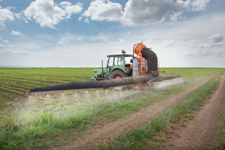 Tractor spraying soy in the spring photo