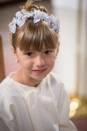 First Communion portrait beautiful girl Stock Photo - 20417176